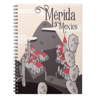 Affiche de voyage de Mérida Mexique Carnet À Spirale