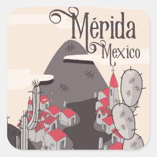 Affiche de voyage de Mérida Mexique Sticker Carré