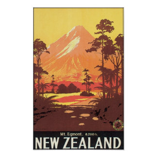 Affiche de voyage de Mt Egmont Nouvelle Zélande