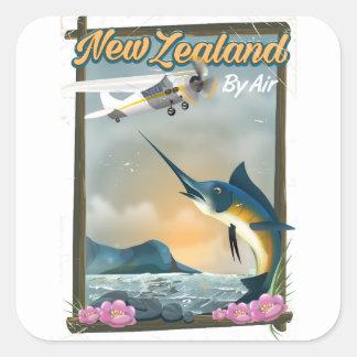 Affiche de voyage de pêche de la Nouvelle Zélande Sticker Carré