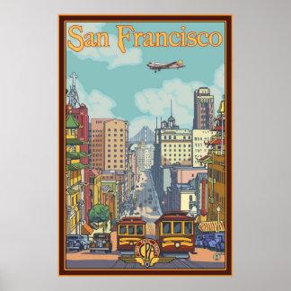 Affiche de voyage de San Francisco - rue de la Cal