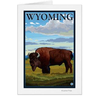 Affiche de voyage de SceneWyomingVintage de bison Carte De Vœux