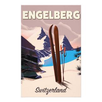Affiche de voyage de ski d'Engelberg Suisse Papeterie