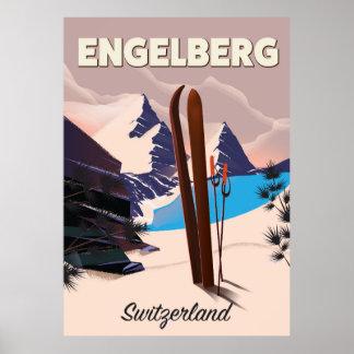 Affiche de voyage de ski d'Engelberg Suisse Poster