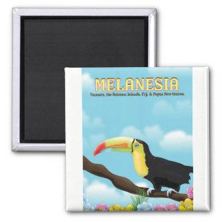 Affiche de voyage de toucan de la Mélanésie Aimant