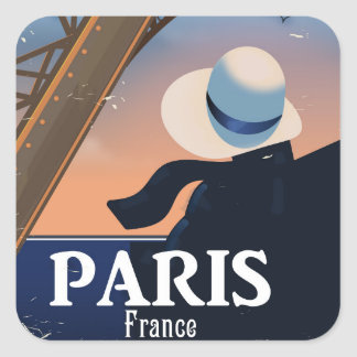 Affiche de voyage de Tour Eiffel de Paris France Sticker Carré