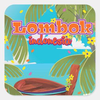 Affiche de voyage de vacances d'île de Lombok Sticker Carré