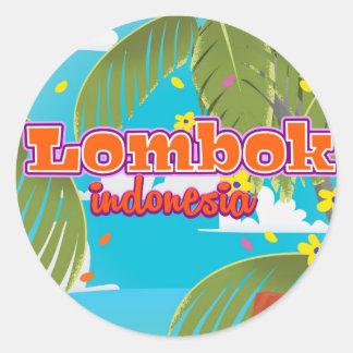 Affiche de voyage de vacances d'île de Lombok Sticker Rond
