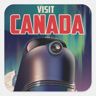 Affiche de voyage du Canada de visite de la Sticker Carré