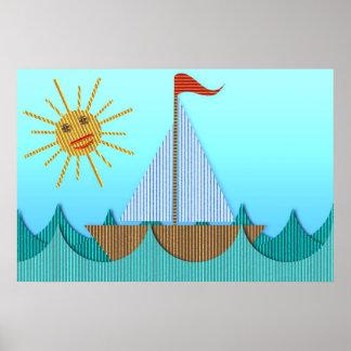 Affiche de yacht de carton