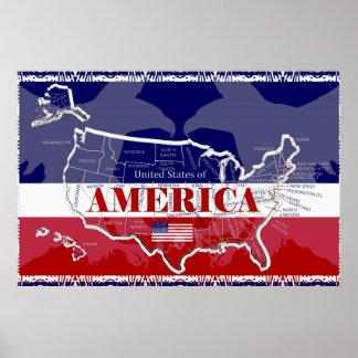 Affiche d'Eagle chauve de couleurs des états de Poster