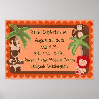 Affiche d'échantillonneur de naissance de bébés de