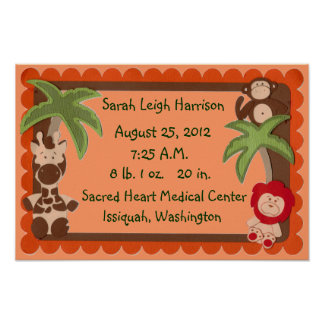Affiche d'échantillonneur de naissance de bébés de posters