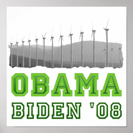 Affiche d'énergie éolienne d'Obama Biden