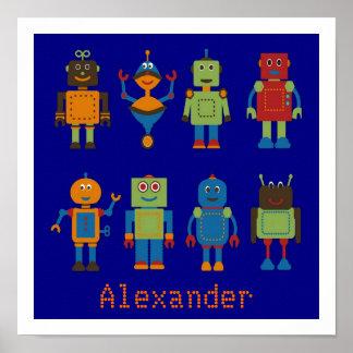 Affiche denfants personnalisée par amis de robot