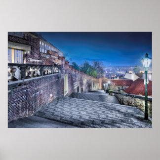 Affiche d'escaliers de château de Prague Poster