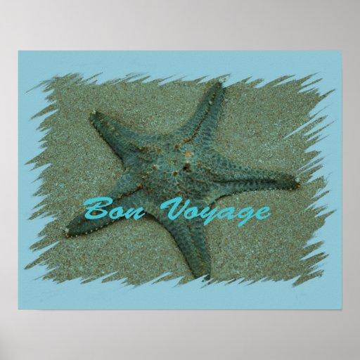 Affiche d'étoiles de mer de voyage de fève