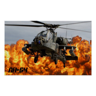 AFFICHE D'HÉLICOPTÈRE D'AH-64 APACHE POSTER
