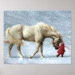 Affiche d'hiver de cheval et de fille