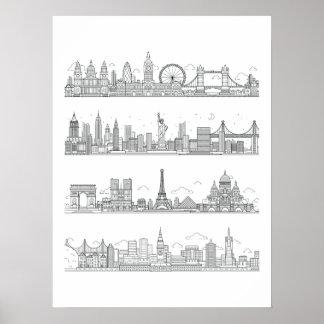 Affiche d'horizon de Londres New York Paris San Posters