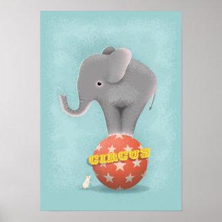 Affiche d'impression d'art d'éléphant de cirque poster