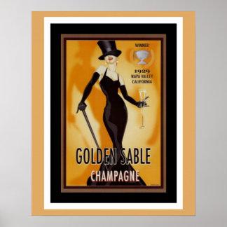 Affiche d'or d'annonce de Champagne de sable Posters
