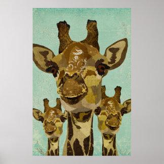 Affiche d'or d'art de girafes de damassé