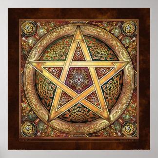 """Affiche d'or de pentagramme de Knotwork (22x22"""") Posters"""