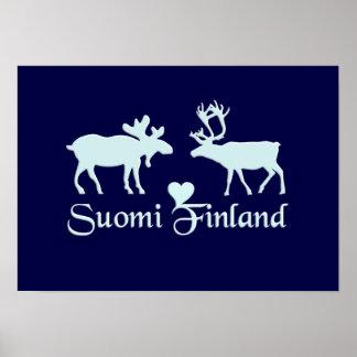 Affiche d'orignaux et de renne