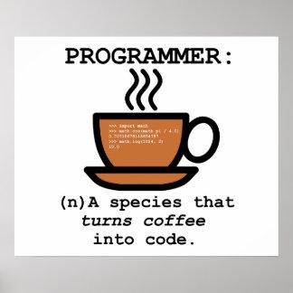 Affiche drôle de définition de programmeur