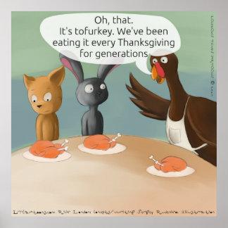 Affiche drôle de thanksgiving végétalien
