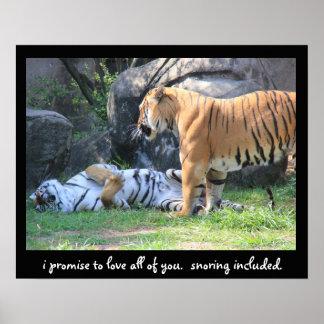 """Affiche drôle de tigre """"que je promets d'aimer tou"""