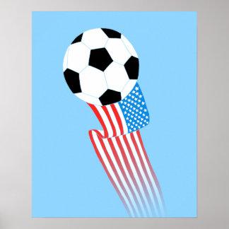 Affiche du football : Les Etats-Unis bleus