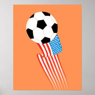 Affiche du football : Les Etats-Unis oranges