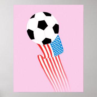 Affiche du football : Les Etats-Unis roses