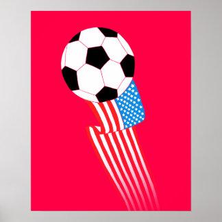 Affiche du football : Les Etats-Unis rouges