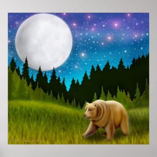 Affiche du nord d'ours gris de lune