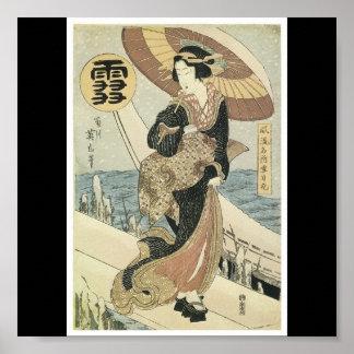 Affiche d'une belle vieille peinture japonaise