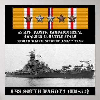 AFFICHE D'USS LE DAKOTA DU SUD (BB-57)