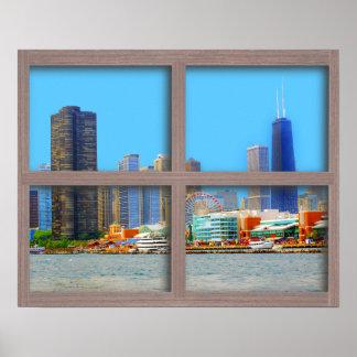 Affiche en bois de fenêtre de panneau de l'horizon posters