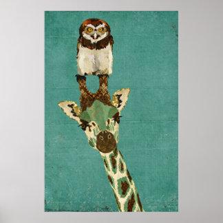 Affiche en bronze d'art de girafe et de hibou