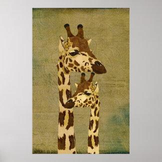 Affiche en bronze d'or d'art de girafes