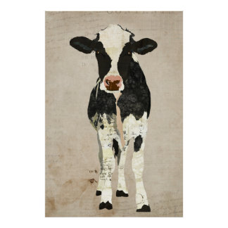 Affiche ene ivoire et noire d art de vache
