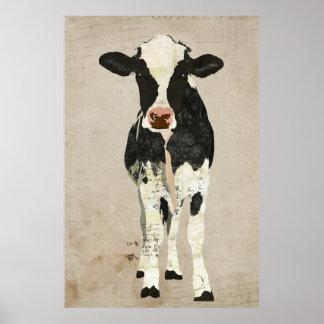 Affiche ene ivoire et noire d'art de vache