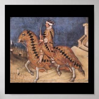 Affiche équestre médiévale de portrait posters