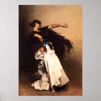 Affiche espagnole de danseur de Sargent de chanteu