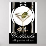 Affiche faite sur commande de cocktails d'art déco
