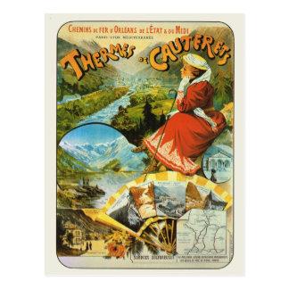 Affiche ferroviaire vintage Thermes de Cauterets Carte Postale