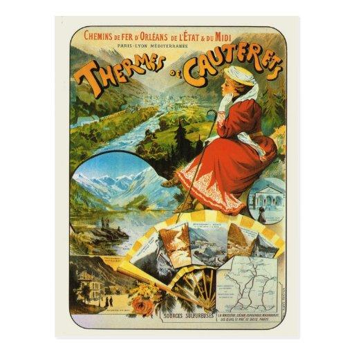 Affiche ferroviaire vintage Thermes de Cauterets d Carte Postale
