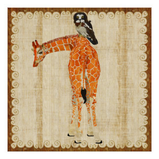 Affiche fleurie de girafe et de hibou